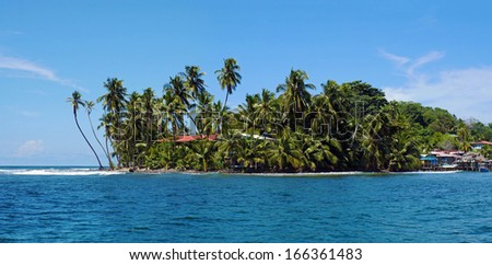 Tropical island panorama with leaning coconut tree, and houses hidden by lush vegetation, Bocas del Toro, Panama - stock photo