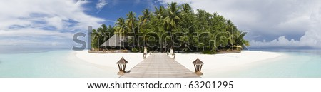 Tropical island panoramic view - stock photo