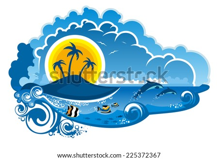 Tropical island paradise with leaping dolpins, fish swimming underwater, palm trees and sunshine for an idyllic summer vacation, cartoon illustration - stock photo