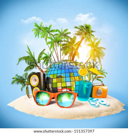 tropical island. Party at the beach. Traveling, vacation - stock photo