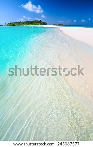 Tropical island with sandy beach with palm trees and turquise clear water - stock photo
