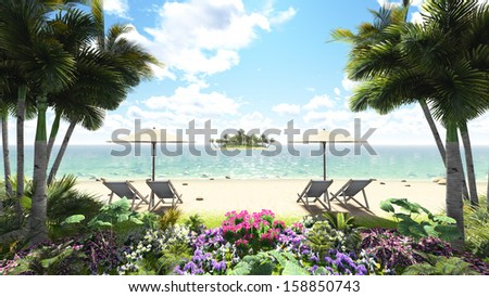 Tropical Islands in the ocean - stock photo