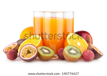 tropical juice with fruits - stock photo