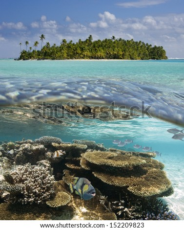 Tropical Lagoon of Aitutaki in the Cook Islands in the South Pacific. - stock photo