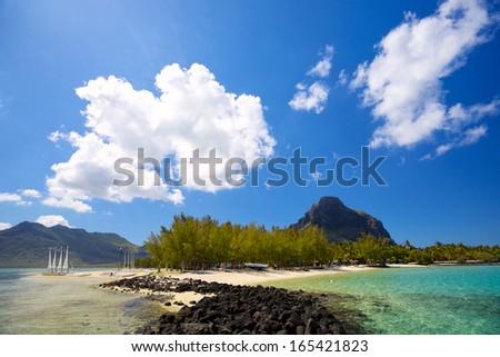 Tropical lagoon on south coast of Mauritius Island - stock photo