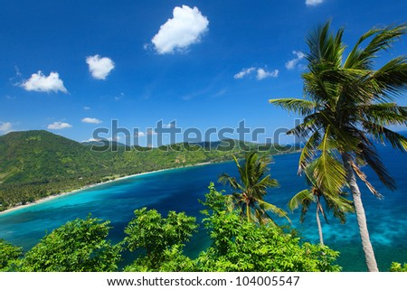 Tropical lagoon with clear water and palm trees on a coast. Lombok island, Indonesia - stock photo