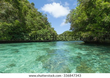 Tropical lagoon with lush green rock islands and clear blue water, Palau, Micronesia - stock photo