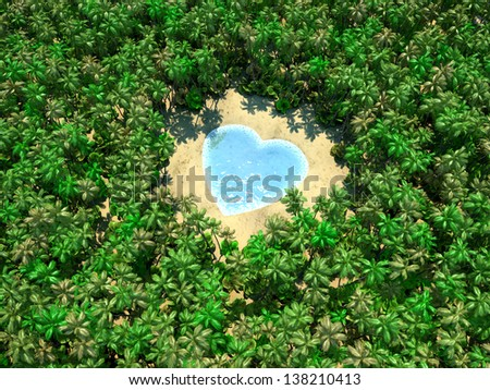 Tropical lake in form of heart on jungle - stock photo