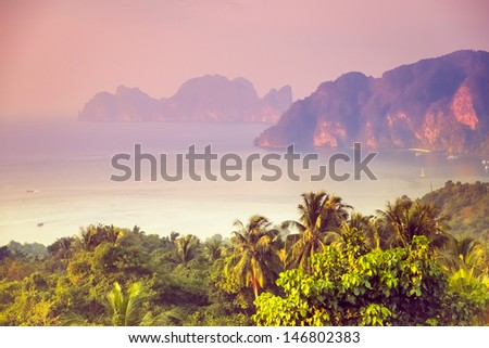 Tropical landscape. Phi-phi island, panorama view. Thailand. - stock photo