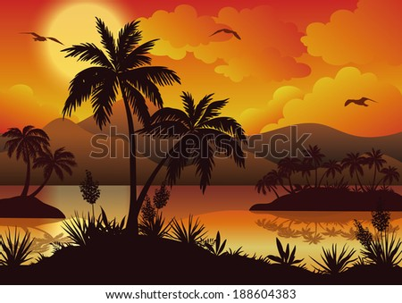 Tropical landscape, sea islands with palm trees, flowers, mountain, clouds, sun and birds gulls, black silhouettes on red - yellow background - stock photo