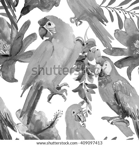 Tropical leaves, birds and flowers. seamless watercolor background. - stock photo
