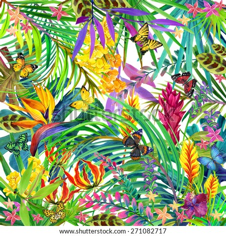 Tropical leaves, flowers and butterfly. watercolor summer floral background - stock photo