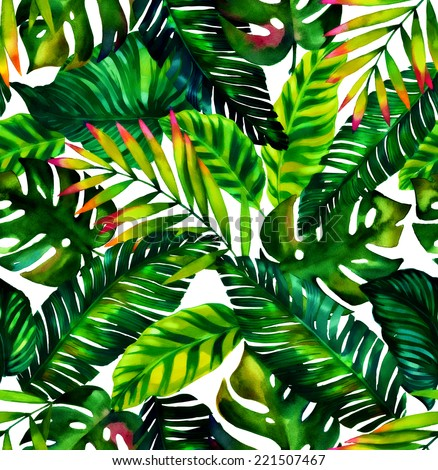 tropical leaves seamless pattern - stock photo
