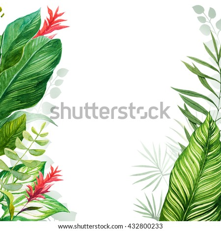 tropical leaves watercolor - stock photo