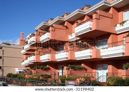 tropical luxury home, Canary, Tenerife - stock photo