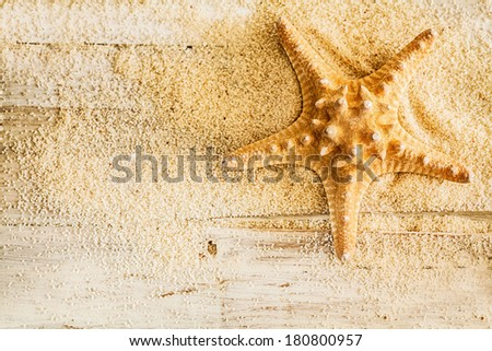 Tropical marine background with a spiny starfish or sea star and golden sea sand on rustic wooden boards with copyspace - stock photo