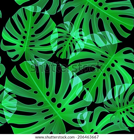 Tropical monstera leaves. seamless stylish fashion pattern, in Hawaiian style - stock photo