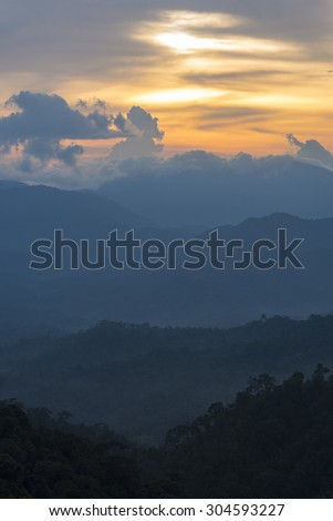 Tropical mountain forest, palm trees in sunlight. Sunset landscape in Dominican Republic. Nature of caribbean island - stock photo