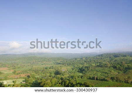 Tropical Mountain Range,This place is in the Phurua national park,Thailand - stock photo