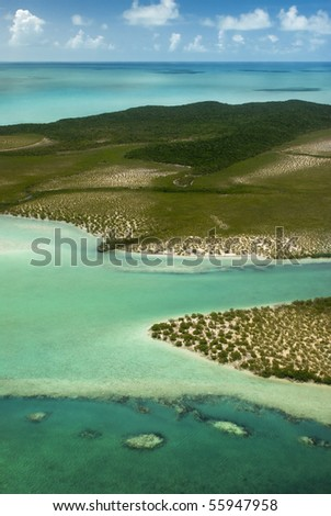 Tropical ocean and Forest Island. The Beautiful Bahamas - stock photo