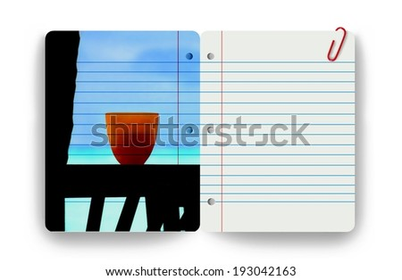 Tropical ocean sea view resort tropics vacation getaway notepad notebook paper - stock photo