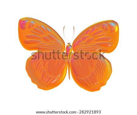 Tropical orange butterfly isolated on white background - stock photo