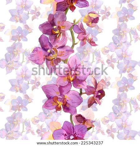 Tropical orchid flowers. Repeating floral pattern. Watercolor - stock photo
