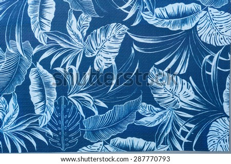 Tropical palm leaf pattern in surge blue and white colors. - stock photo