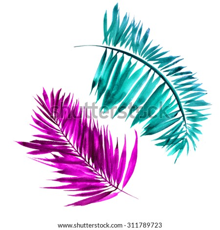 Tropical palm leafs set. Watercolor vivid color tropical foliage for art and design - stock photo