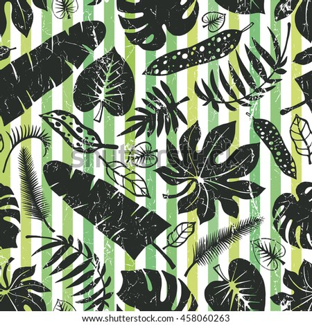 Tropical palm leaves seamless pattern.Black leaf Silhouette on strips background.Monstera leaves.Tree branches.Exotic  illustration,tropic paradise wallpaper,fabric.Plant leaves,summer - stock photo