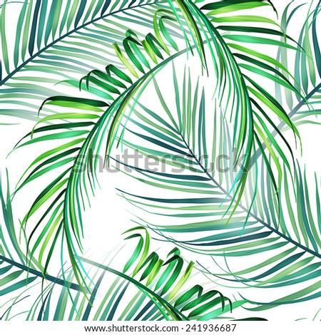 Tropical palm leaves. Seamless stylish fashion floral pattern, in Hawaiian style - stock photo