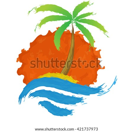Tropical palm on island with sea. - stock photo
