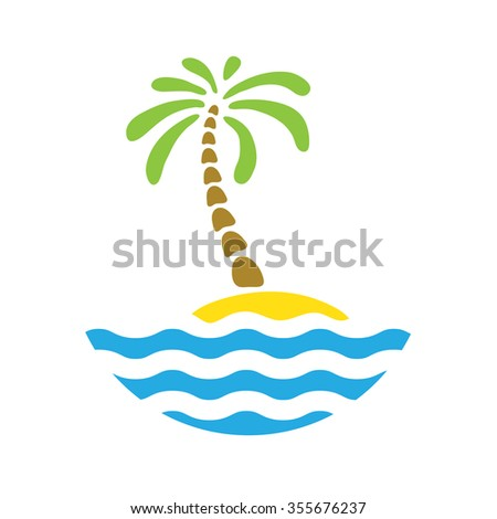 Tropical palm on island with sea. Logo. - stock photo