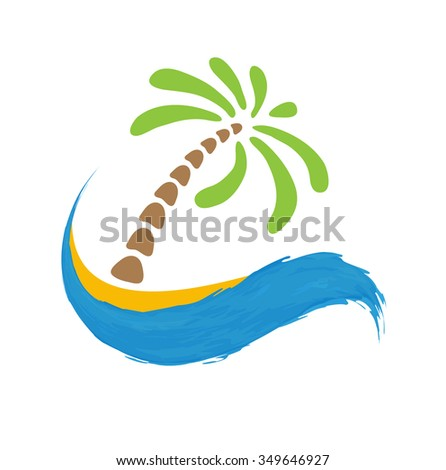 Tropical palm on island with sea. logo illustration. - stock photo