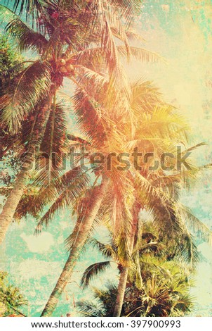 Tropical Palms Trees Beach Toned Vintage Shabby Effect Nature Landscape Background Holiday Travel Design View  - stock photo