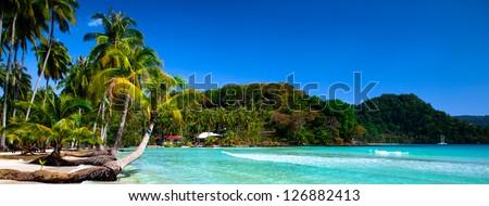 Tropical panoramic beach - stock photo