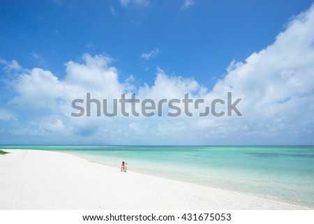 Tropical paradise beach with clear water, Taketomi Island, Okinawa, Japan - stock photo