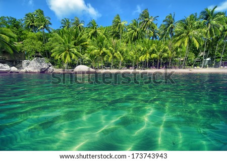Tropical Paradise with Turquoise Water and Lush Greenery - Lovely Beach on an island - stock photo