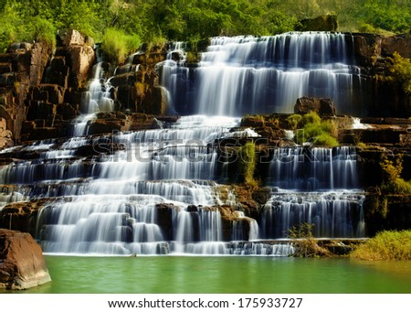 Tropical rainforest landscape with flowing Pongour waterfall in Da Lat, Vietnam. Four images panorama - stock photo