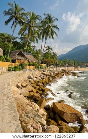 tropical resort in Yelapa, Puerto Vallarta, Mexico. - stock photo