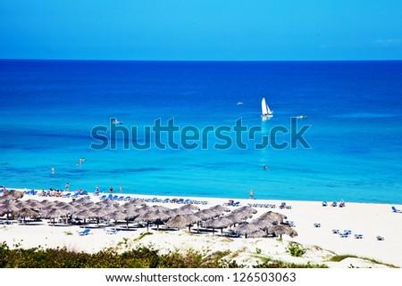 Tropical resort seascape - stock photo