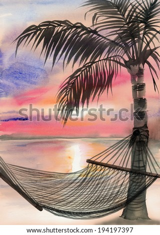 Tropical resort sunset view with a palm and a hammock - stock photo