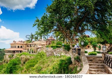 Tropical river Chavon in Dominican Republic. Vocation and travel. Ancient village Altos de Chavon - Colonial town reconstructed in Casa de Campo, La Romana, Dominican Republic. - stock photo