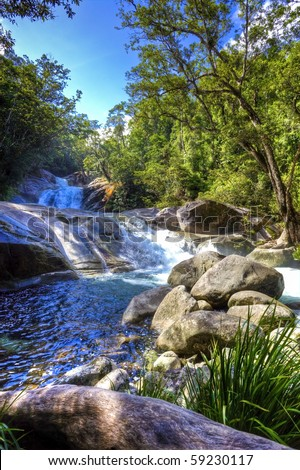 tropical river in the rain forest queensland australia - stock photo
