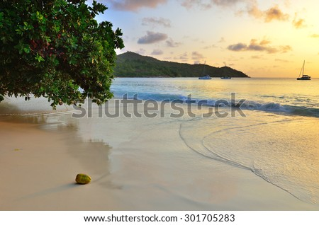 Tropical sand beach on the Seychelles islands at sunset, Praslin, Anse Lazio - stock photo