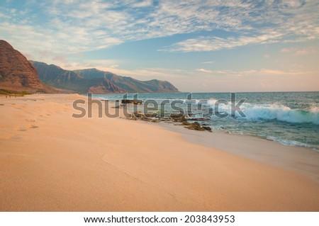 Tropical sandy beach in Hawaii island. Keawaula Beach, Yokohama Bay in Oahu - stock photo