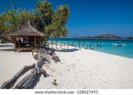 Tropical scenery of Gili Meno island, Lombok, indonesia - stock photo