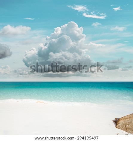 Tropical sky paradise. Lost island - stock photo