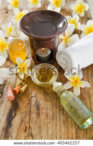 Tropical spa on old wood - stock photo