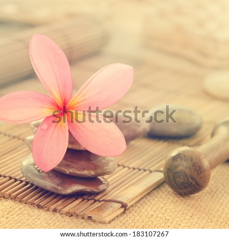 Tropical spa with Frangipani flowers in retro style. Low lighting, suitable for spa related theme. - stock photo